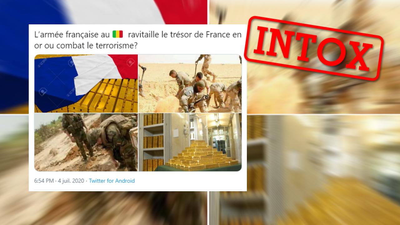 Une série d'images hors contexte a fait surface pour accuser les soldats français de voler de l'or au Mali.