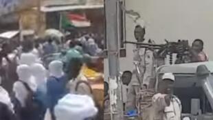 Captures d'écran de deux vidéos montrant la répression contre les lycéens d'al-Obeid, au centre du Soudan.