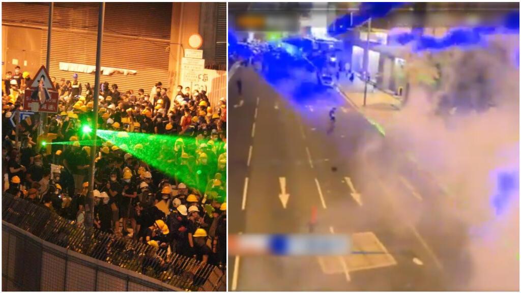 Des manifestants hongkongais visent la police avec des lasers. Images publiées les 27 et 28 juillet sur Twitter.