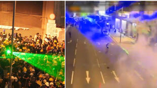 Hong Kong protesters use lasers to confuse police and to interfere with their cameras. (Photos posted on July 27 and 28 on Twitter).