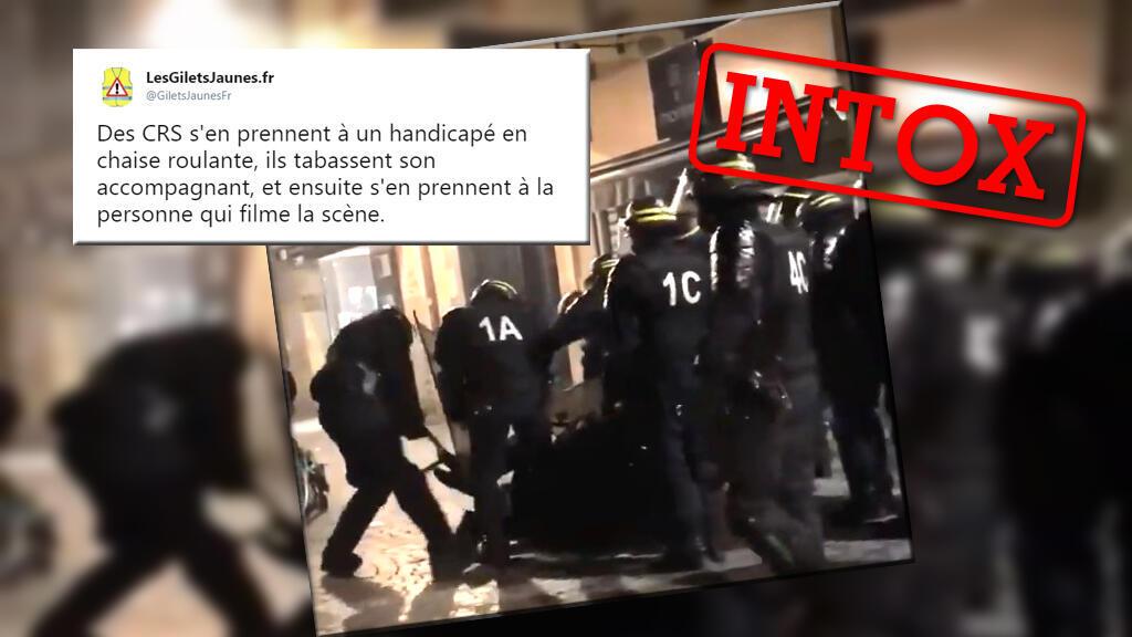Montage avec une capture d'écran de la vidéo et d'un tweet laissant entendre que les CRS auraient attaqué un manifestant.