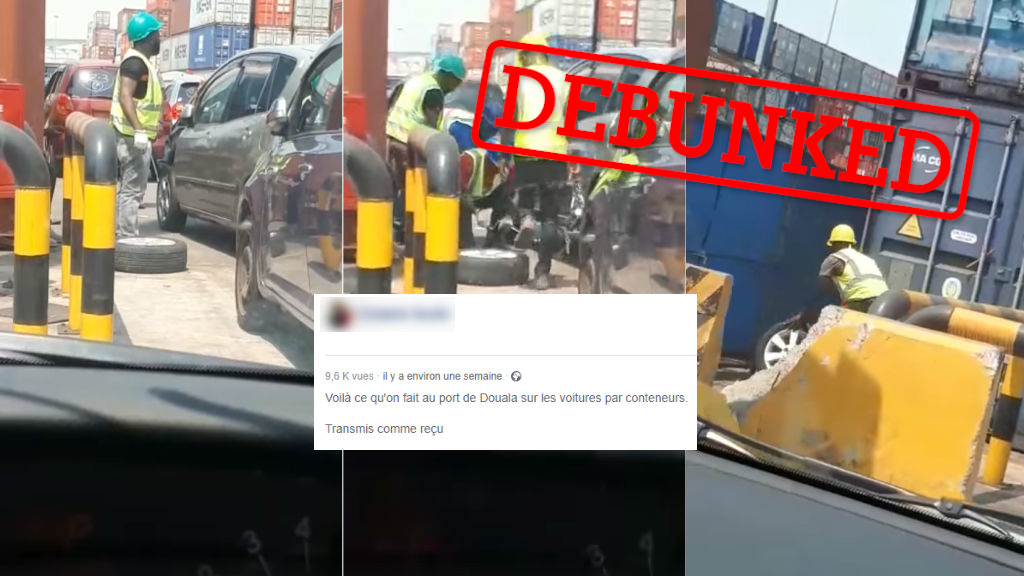 Screenshots from the video shared on social media in Cameroon and Togo on October 13. The caption reads: 'This is what happens to cars in the port of Douala.'