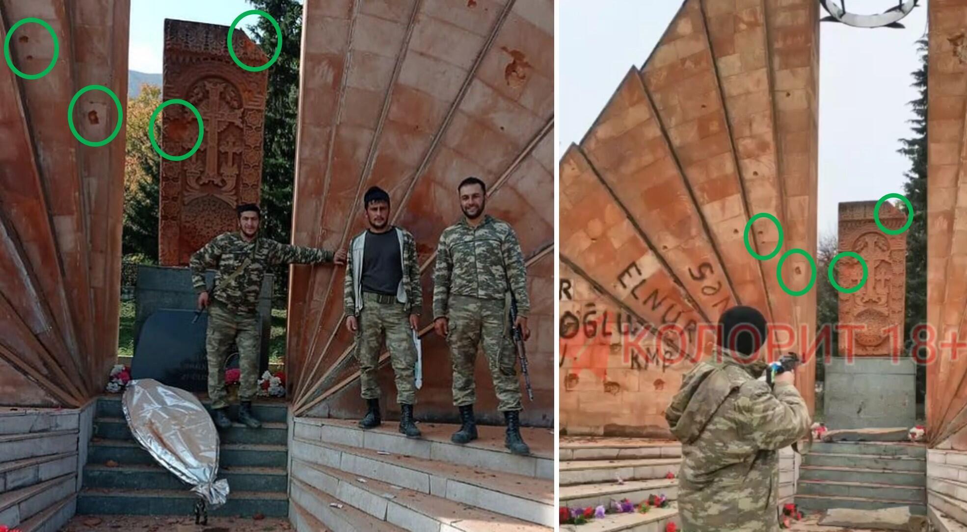 À gauche, la photo publiée sur Instagram le 18 décembre. À droite, une capture d'écran du début de la vidéo publiée le 4 juillet, avant que le soldat ne tire. Sur les deux images, on peut remarquer les mêmes signes de détériorations : l'absence de l'angle en haut à droite de la stèle, et la présence de plusieurs traces d'impacts à droite de la croix sculptée sur la stèle, et sur la partie gauche du monument.