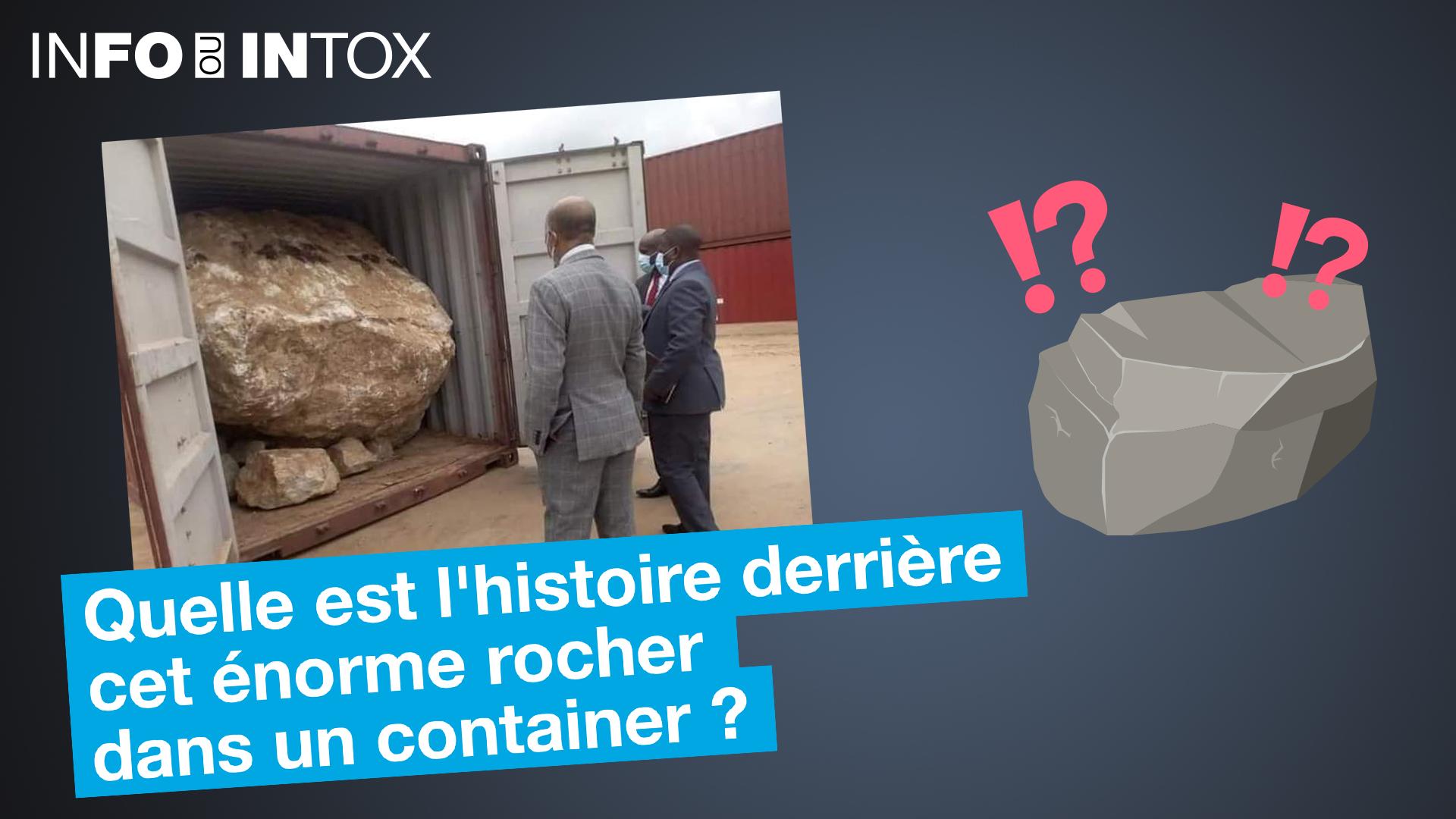 Un énorme rocher dans un container, l'image est insolite, mais où a-t-elle été filmée ?