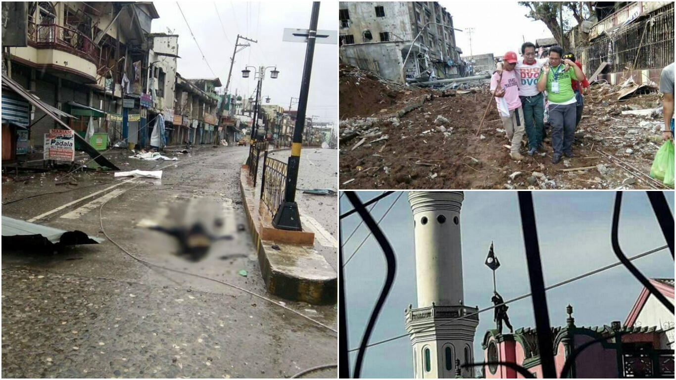 Part of the town of Marawi was taken over by groups affiliated with the Islamic State jihadist organisation. (Photos posted on Facebook and Twitter.)