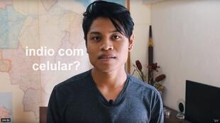 """An Indian with a cell phone?"" Cristian Wariu started making YouTube videos to combat stereotypes about indigenous people in Brazil. (Screengrab, Wariu, YouTube)."