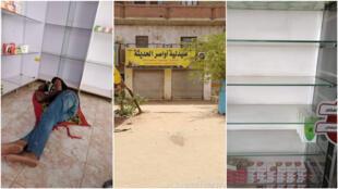 على اليسار، عامل في صيدلية في الخرطوم يأخذ قيلولة داخل المحل الفارغ. في الوسط، أغلقت صيدلية في الخرطوم أبوابهما في حركة احتجاجية. على اليمين، نفاد كامل لمخزون إحدى الصيدليات في الخرطوم.