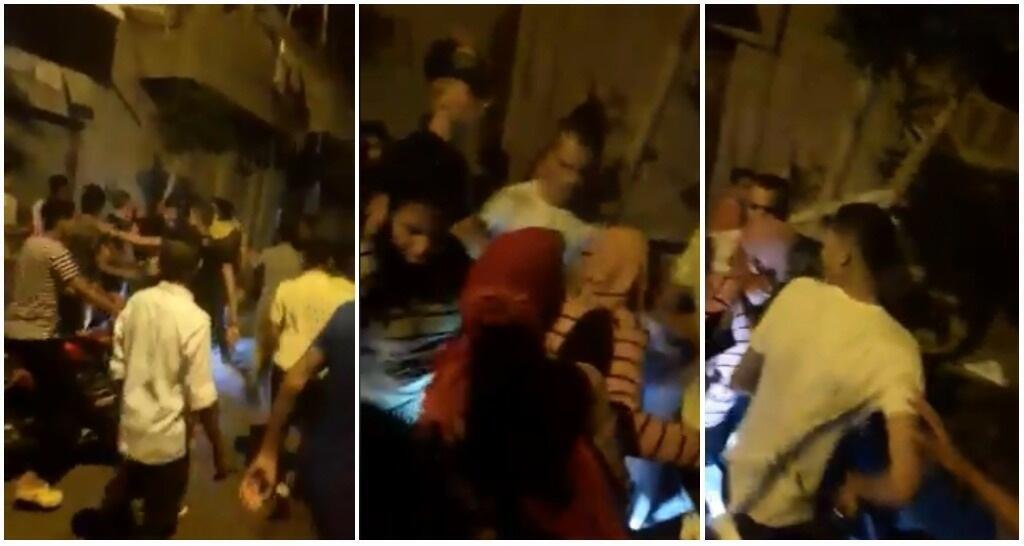 Capture d'écran d'une vidéo diffusée le 24 août sur les réseaux sociaux en Egypte et qui montre une foule d'homme poursuivre trois adolescentes en Egypte.