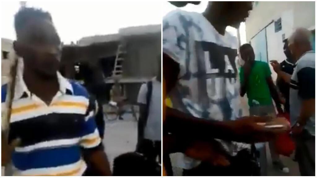 Captures d'écran d'une vidéo prise le 28 août 2018, à Najemata, au nord de Tunis. Sur la vidéo, des Ivoiriens essayent de se protéger face aux agressions dont ils ont été les victimes.
