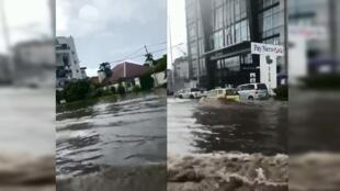 Screenshots from a video showing flooding in Kinshasa, Democratic Republic of Congo, October 22, 2019.
