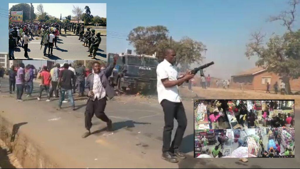 Des centaines de milliers de manifestants à travers le Malawi(à gauche) ont manifesté le 6août, avec certaines violences et pillages(à gauche et à droite).