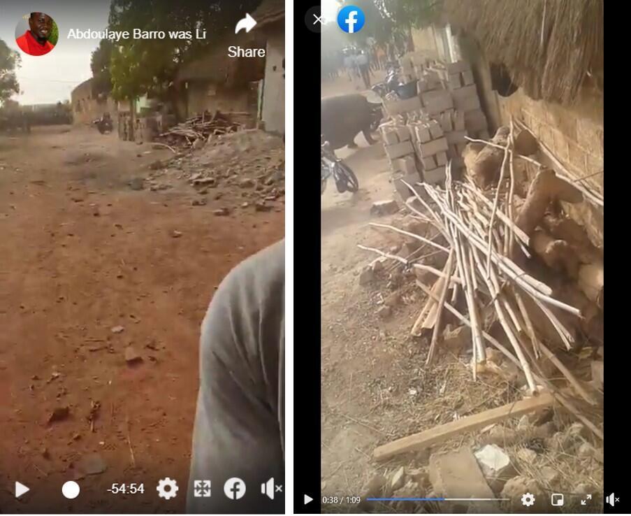 À gauche, une capture d'écran d'une vidéo filmée à Kédougou en mars 2019, et à droite, une capture d'écran de la vidéo partagée le 23 février 2021.
