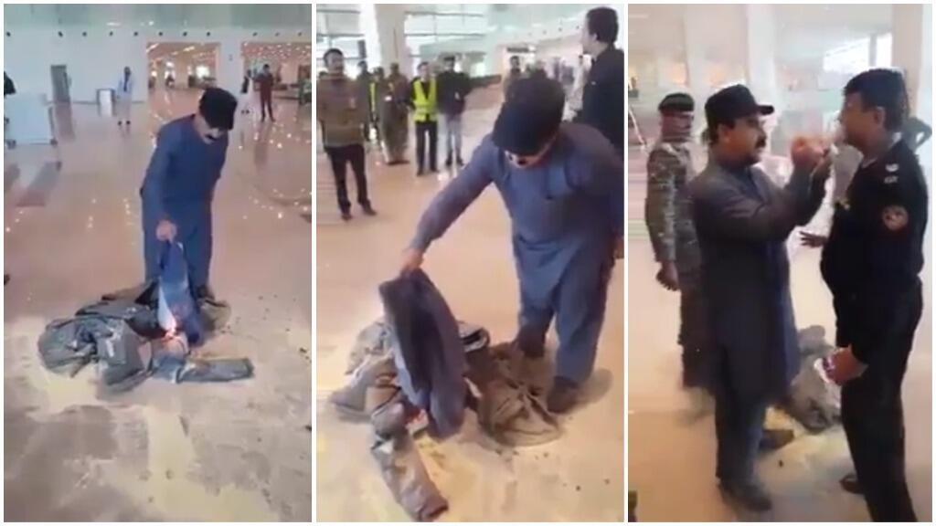Captures d'écran d'une vidéo montrant Fida Hussain, ministre du Tourisme du gouvernement de la province du Gilgit-Baltistan, brûler ses vêtements à l'aéroport d'Islambad, vendredi 16 novembre.