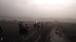Rohingya families walking to Burma's border with Bangladesh. Screen grab from the video below.