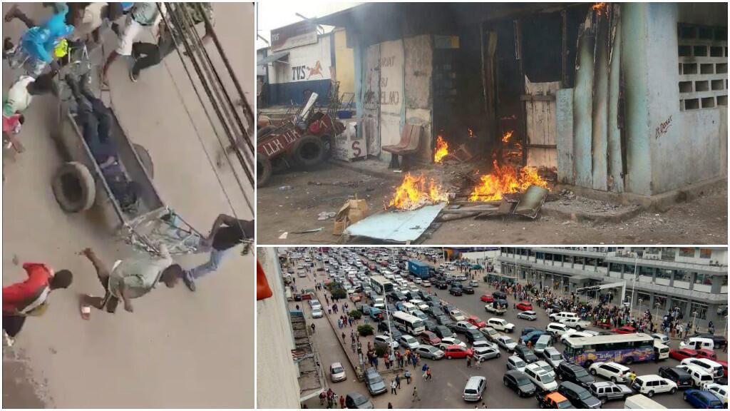 Images amateurs de l'attaque du marché central de Zando, le 14 juillet 2017, publiées sur Twitter.
