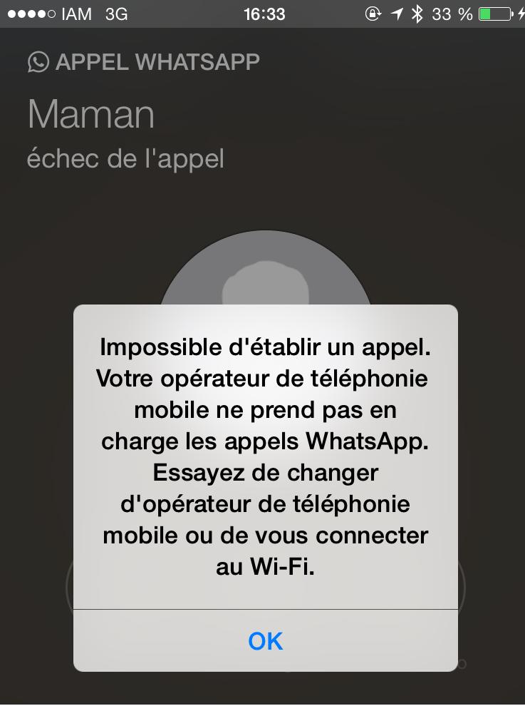 Capture d'écran du téléphone de notre Observatrice après avoir tenté d'appeler en utilisant la 3G. Problème : l'accès à WhatsAPP en utilisant le Wifi est aussi bloqué !