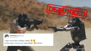 A viral online video depicting a rogue military-style robot turning on humans has caused panic.