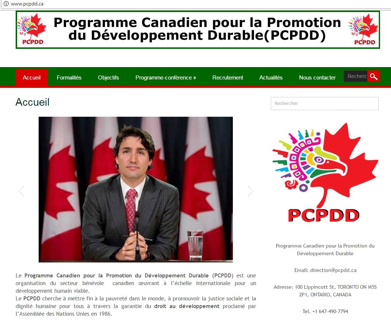 Capture d'écran d'un site proposant de faux programmes d'immigration pour le Canada.