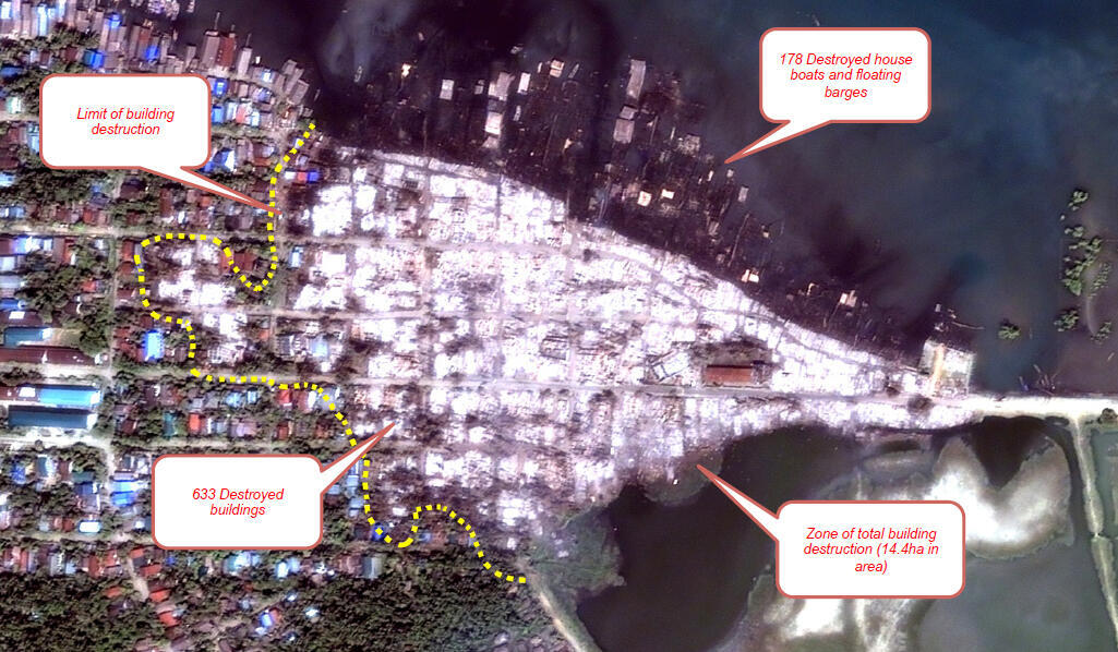 Cette image satellite, prise le 25 octobre, montre la partie musulmane de la ville de Kyaukphyu, brûlée lors d'une récente attaque. Photo : Human Rights Watch.