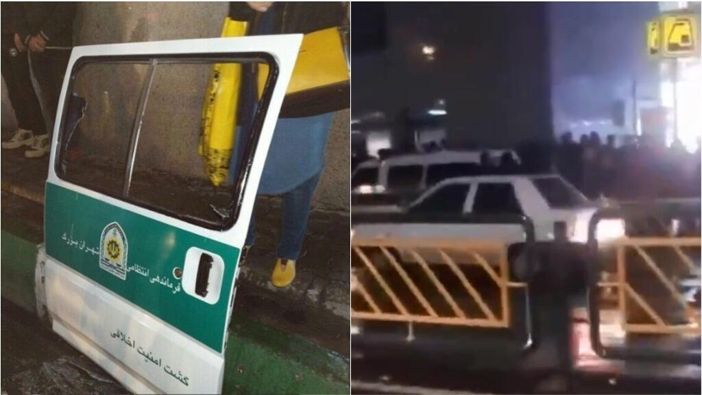 """Tehran police confirmed that officers from a """"Gasht-e Ershad"""" morality police unit tried to arrest two women in Tehran Feb. 15, 2019, but were thwarted when passers-by damaged their vehicle, breaking windows and tearing one door off, and set the women free"""