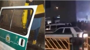 "Tehran police confirmed that officers from a ""Gasht-e Ershad"" morality police unit tried to arrest two women in Tehran Feb. 15, 2019, but were thwarted when passers-by damaged their vehicle, breaking windows and tearing one door off, and set the women free"