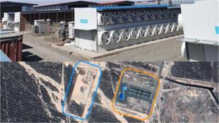 En haut, une ferme à bitcoins sur le sol iranien. En bas, une enquête par géolocalisation menée par la rédaction des Observateurs a révélé la présence de ces fermes en Iran.