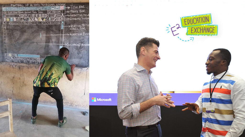 De sa classe où il a dessiné l'interface du logiciel Microsoft Word, à Singapour où il a été invité par Microsoft, la belle histoire du professeur ghanéen Richard Akoto. Photos Richard Akoto / news.microsoft.com
