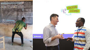 On the left, Richard Akoto drawing the layout of Microsoft Word on a chalkboard; on the right, Akoto in Singapore, where he was invited to a Microsoft educators' summit.