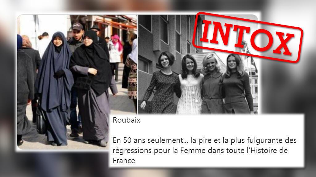Ces deux photos montrerait l'évolution de la tenue vestimentaire à Roubaix, ville du Nord de la France, en 50 ans. Mais aucune n'a été prise à Roubaix.