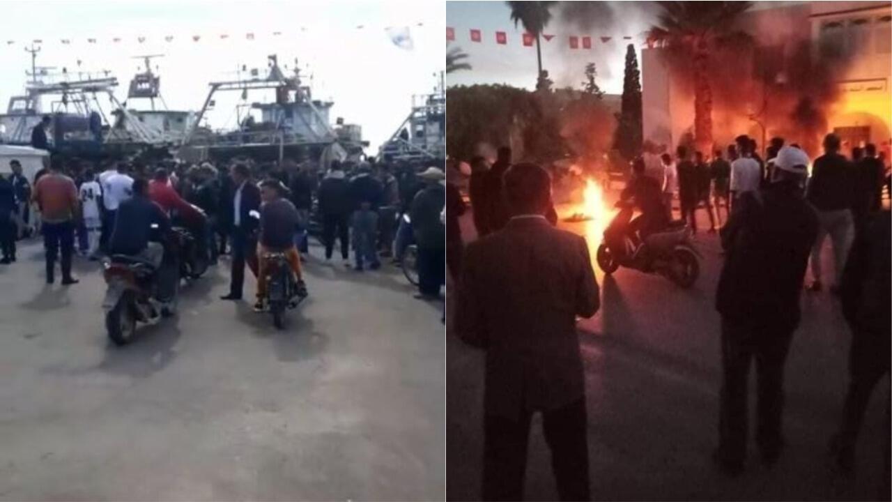 Manifestations fin octobre 2020 sur le port et dans la ville de Chebba, après l'exclusion du club de la saison de Ligue 1 tunisienne.