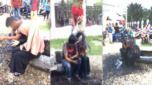 Captures d'écran de plusieurs vidéos montrant des villageois verser un sceau rempli d'eau usée sur un couple soupçonné d'adultère.