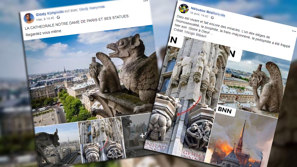 """Les statues de Notre-Dame suscitent des discussions sur les réseaux sociaux pour leur caractère """"diabolique"""" ou """"sexuel"""". Certaines images ne viennent pas de Notre-Dame. Le point dans cet article."""