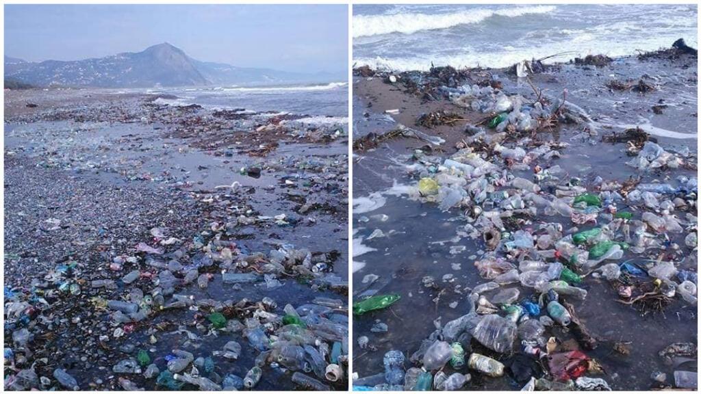 La mer rejette des déchets sur la plage de Melbou, en Algérie. Crédit photos : Khaled Foudil, association OXY-Jeunes Darguina.