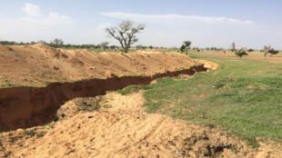 Tranchée en cours de construction autour de l'univeristé de Maiduguri, cible répétée des attaques de Boko Haram.