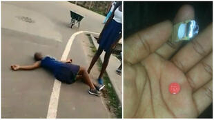 "A teenage girl suffering from the effects of the drug Tramadol, often called ""kobolo"", lies in the street in Libreville. (Left, a screengrab of a video published on Facebook; right, a photo of the drug taken by our Observer.)"