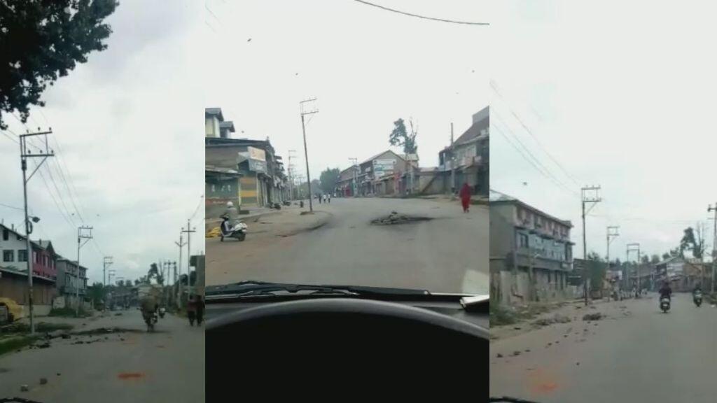Capture d'écran d'une vidéo prise par un étudiant à Pampore, dans l'État indien du Jammu-et-Cachemire, le 11 août.