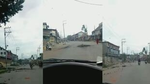 A video sent from a student from Pampore, near Srinigar, shows empty streets in Kashmir during an internet and telephone blackout.
