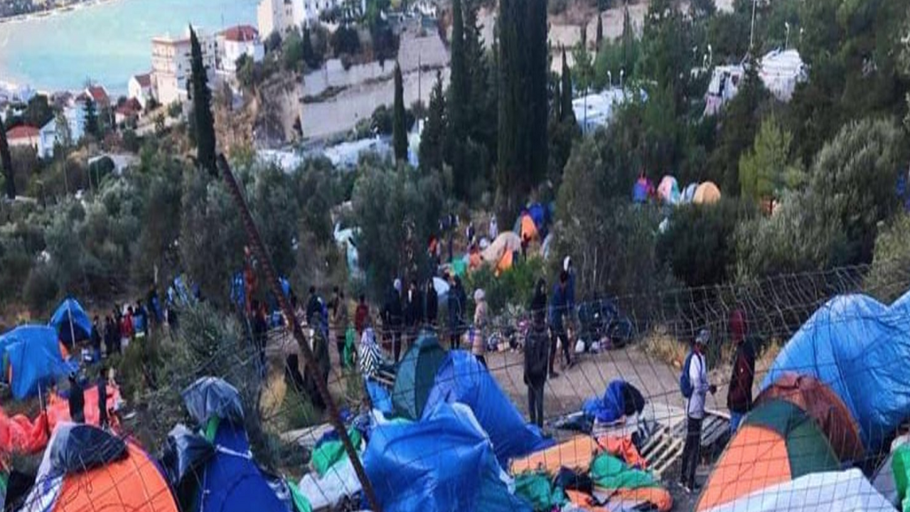A panorama view of the migrant and refugee camp on the Greek island of Samos