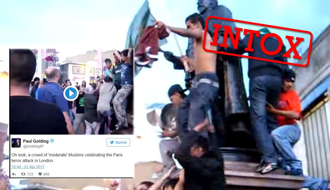 Ces images ont été présentées comme celles de musulmans célébrant l'attaque des Champs-Élysées. Voilà comment vous auriez pu les vérifier.