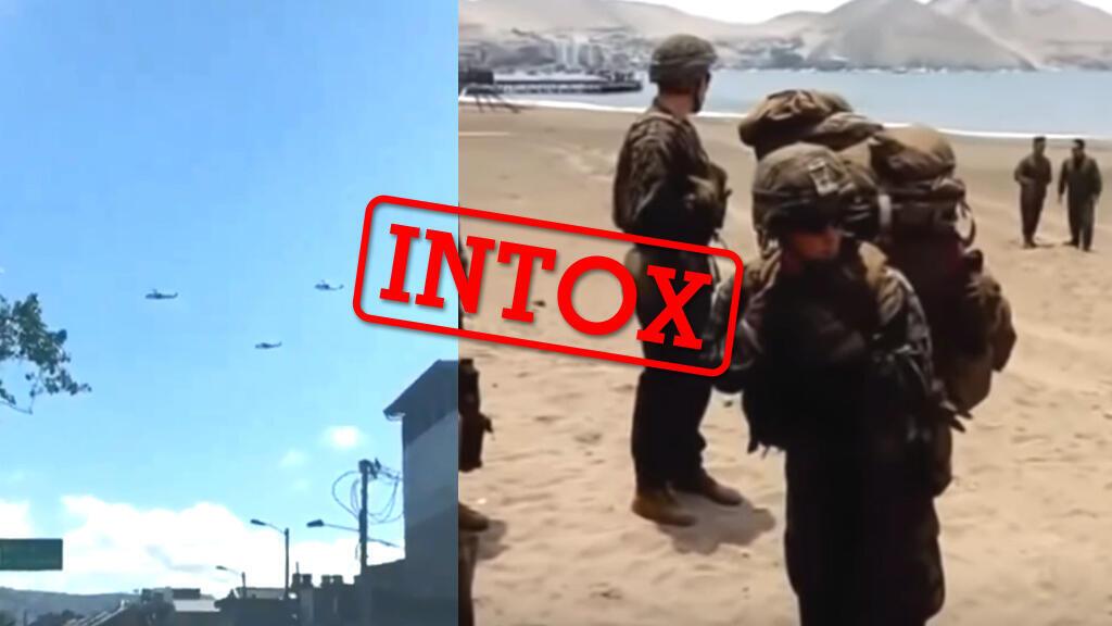 Captures d'écran de deux vidéos prétendant montrer l'armée américaine sur le point d'intervenir au Venezuela.