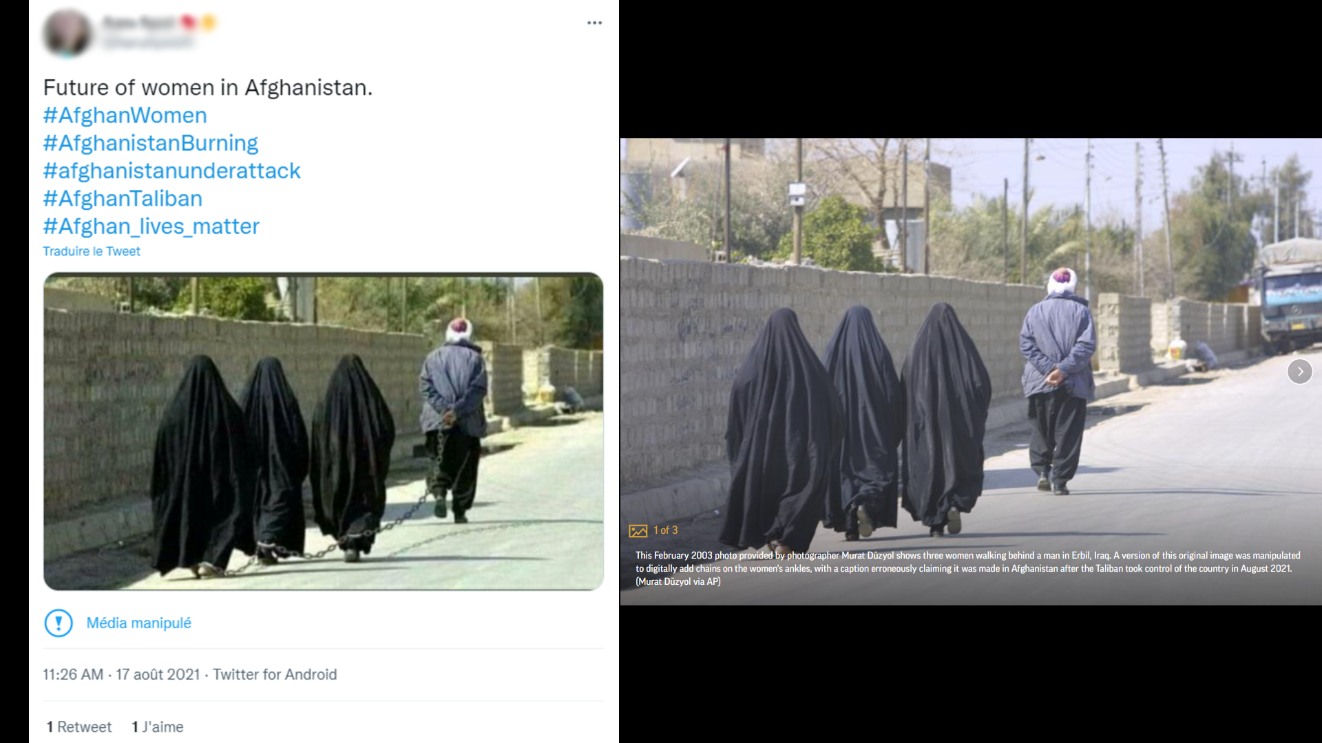 """Left: A screenshot of a Twitter post on August 17, 2021 showing three women in chains with the caption, """"Future of women in Afghanistan."""" Right: The original image, seen here published by the Associated Press, taken by photographer Murat Duzyol in February 2003 in Erbil, Iraq."""