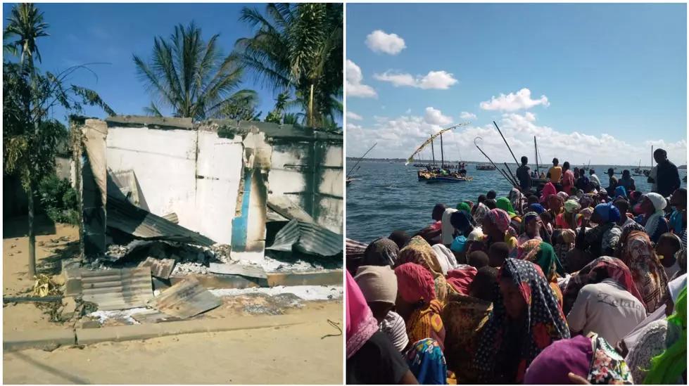 على اليسار، منزل محترق في كابو ديلغادو. على اليمين، المتساكنون يهربون من منطقة موسيمباو دو برايا، التي هاجمها المتطرفون يوم 27 يونيو/حزيران.