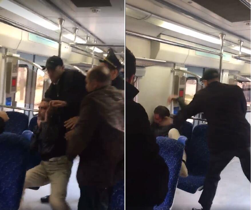 لقطتان من إحدى الفيديوهات التي صورها مراقبنا أمين ويظهر فيهما الراكب وهو يتعرض للضرب من أحد أعوان المراقبة على متن القطار.