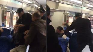 Captures d'écran d'une des vidéos filmées par notre Observateur Amine où l'on voit le passager frappé par l'un des contrôleurs.