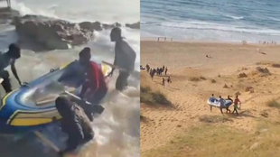 Migrants set off from the beaches of Tangier to reach the Spanish enclave of Ceuta.