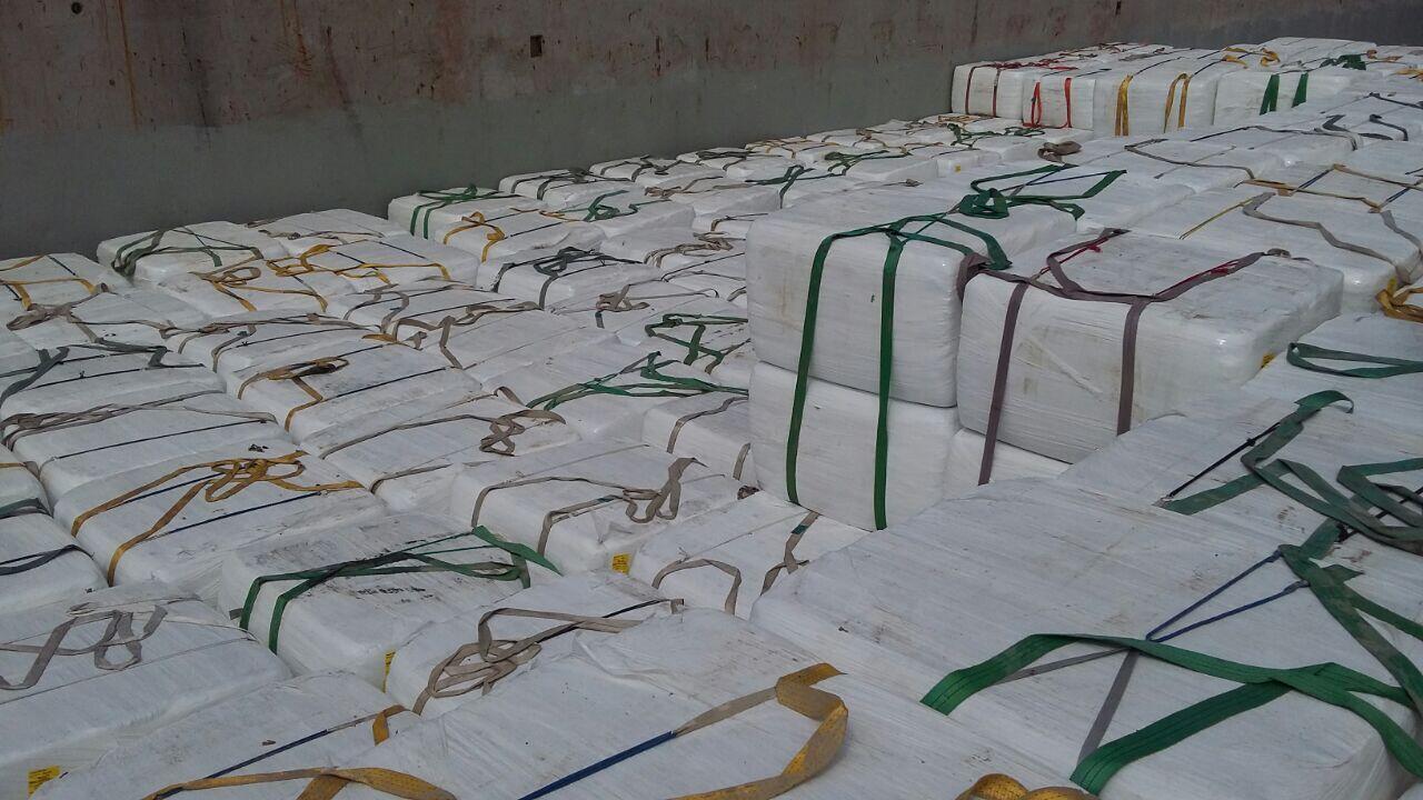 La cargaison de déchets contenant des centaines de paquets emballés arrivée au port de Jorf Lasfar. Photo : Centre d'environnement Credd d'El Jadida