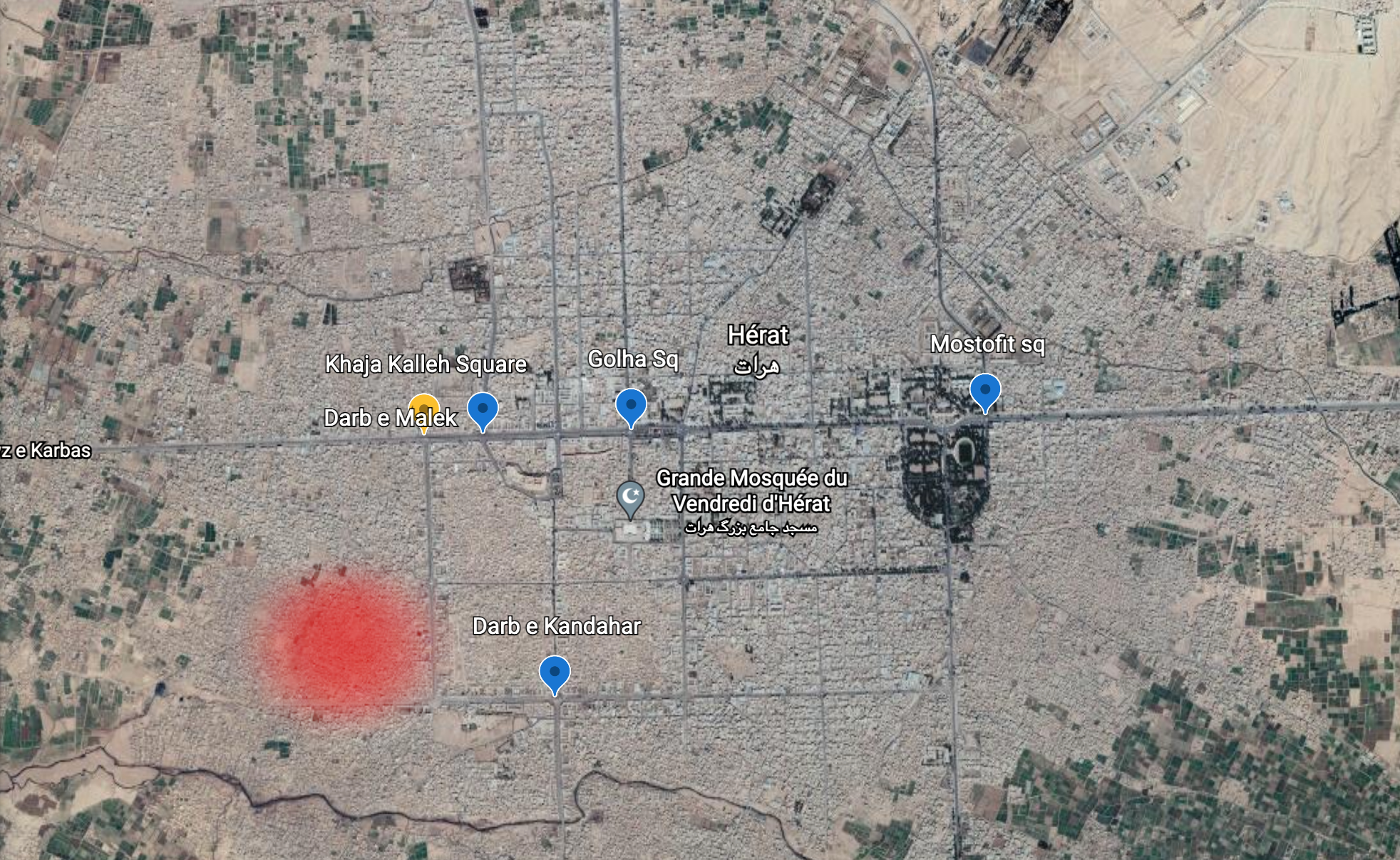The four bodies were hung up in four different locations in Herat, Darb-e-Malek, Golha, Mostofit and Darb-e-Kandahar (shown in blue on the map). According to Afghan media outlets, the kidnapping took place in Khaja Kalleh square (marked in yellow) and the gunfight between Taliban officials and the kidnappers took place in the city's 14th district (shown in red).