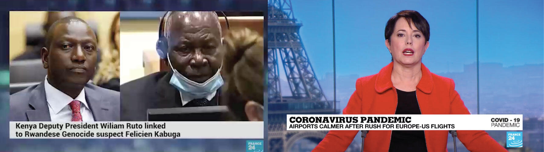 (Left) Screengrab of the fake video edited with France 24 graphics (RIght) Screengrab of a real France 24 video with a different font and graphic style