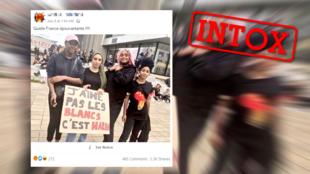 Cette photo, prise lors d'une manifestations BLM à Nantes, a été retouchée.