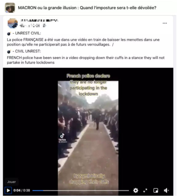 """The video was posted on a French Facebook page called """"Macron or the grand illusion""""."""